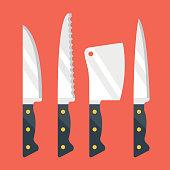 Kitchen knives set. Flat design vector illustration