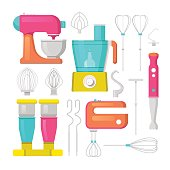 Kitchen Mixer and Blender Vector Icons Set. Culinary Equipment
