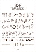 Several hand-drawn kitchen utensils icons and extra design elements. Perfect for restaurant menus, cooking books, recipes and such.