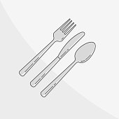 Kitchen tool - cutlery vector illustration on gray background