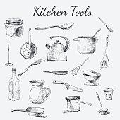 Vintage Kitchen Utensils Illustration kitchen utensil stock photos and illustrations - royalty-free