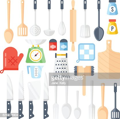 Kitchen Utensils Art kitchen tools cooking equipment kitchen utensils set flat icons