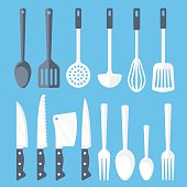 Kitchen tools flat icons set. Colorful flat design concepts for web banners, web sites, printed materials, infographics. Blue background. Vector illustration