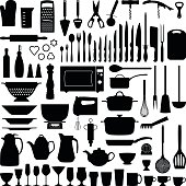 Kitchen tool collection - vector silhouette illustration