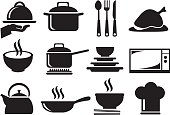 Black and white vector icons of kitchen utensils and equipment for cooking and food preparation isolated on white background.