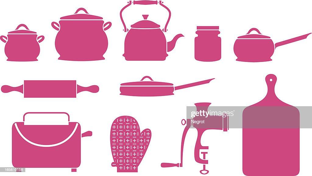 Kitchen Utensils Art kitchen utensils and appliances icons vector art | getty images