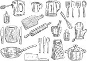 Kitchen utensils and appliances isolated sketches. Cooking pot, knife, fork, frying pan, spoon, cup, spatula, electric kettle, hand mixer, cutting board, whisk, rolling pin and grater