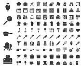 Kitchen utensils, bakery equipments, chef uniform and home appliance 100 icons, drawing on grid system, solid icon