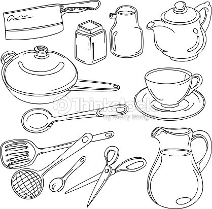 Kitchen utensils collection vector art thinkstock - Utensilios de chef ...