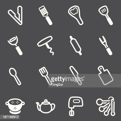Kitchen Utensils Art kitchen utensils icons set white series vector art | getty images