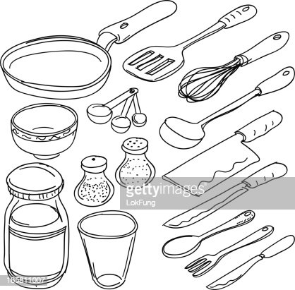 Kitchen Tools Drawings kitchen utensils in sketch style vector art | getty images
