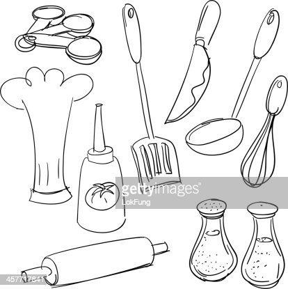 Kitchen Hat Cooking Spoon Symbol Drawing Vector Art