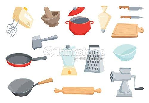 Juego de utensilios de cocina arte vectorial thinkstock for Juego utensilios cocina
