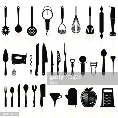Common kitchen utensils names - Kitchen Utensils Silhouette Pack 1 Cooking Tools Vector