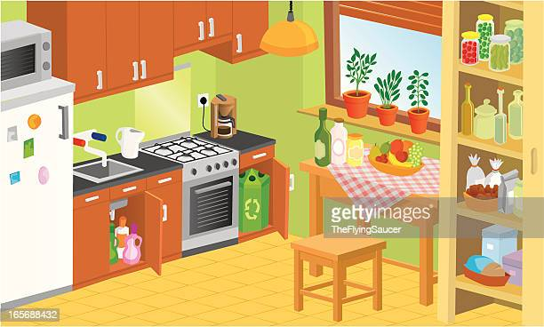 Domestic Kitchen Stock Illustrations And Cartoons