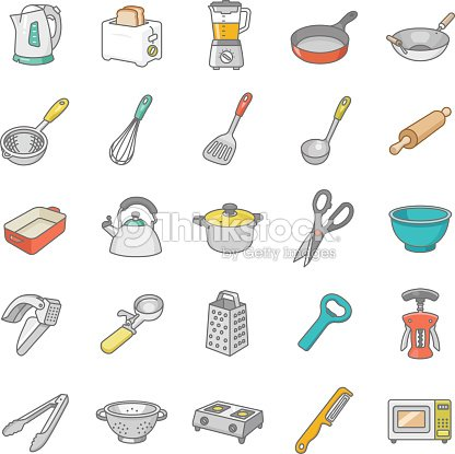 couleur des ic nes vectorielles des ustensiles de cuisine clipart vectoriel thinkstock. Black Bedroom Furniture Sets. Home Design Ideas