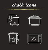 Kitchenware chalk icons set. Vector. Electric meat mincer, saucepan, water filter, microwave oven