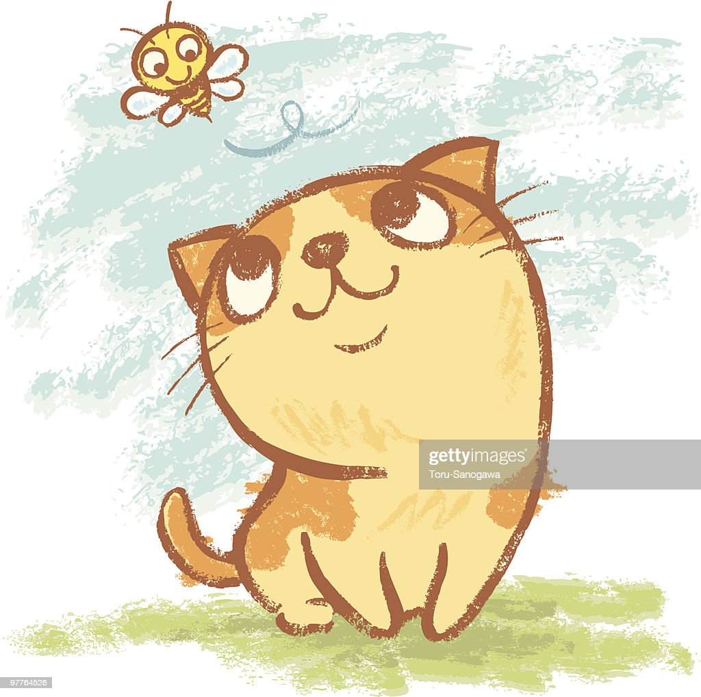 Kitten and bee : Vector Art