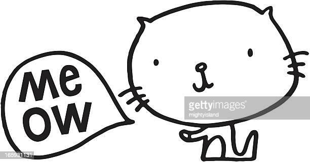 Kitten sketch with meow speech bubble