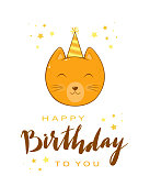 Birthday greeting card in cartoon style. Head of kitty in party hat with lettering Happy Birthday and stars. Fun animal isolated on white background, can be used for card, postcard, children's clothin