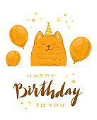 Birthday greeting card in cartoon style. Happy kitty in party hat with balloons and lettering Happy Birthday and stars. Can be used for card, children's clothing design, t-shirts, illustration.