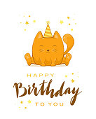 Birthday greeting card in cartoon style. Happy kitty in party hat with stars and lettering Happy Birthday and stars. Can be used for card, children's clothing design, t-shirts, illustration.