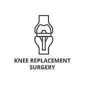 knee replacement surgery  thin line icon, sign, symbol, illustation, linear concept vector