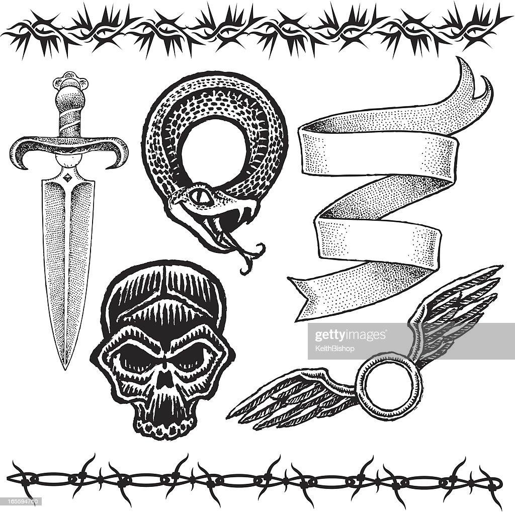 tatouage news school de couteau
