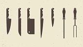 Knifes set or Kitchen knives icons. Vector illustration.