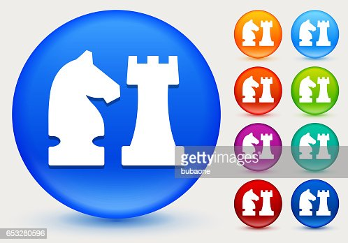 Knight and Castle Icon on Shiny Color Circle Buttons : Arte vettoriale