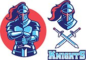 vector of knight mascot swinging the sword