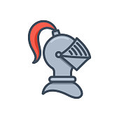 Knight helmet icon. Symbol of protection and strength