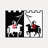 Knight on horse. Vector illustration