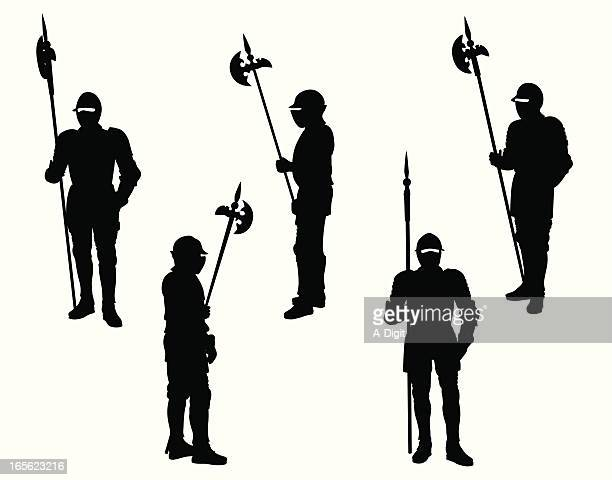 Knights In Armor Vector Silhouette