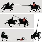 Knights tournament. Vector illustration