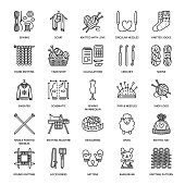 Knit, crochet, hand made line icons set. Knitting needle, hook, scarf, socks, pattern, wool skeins and other DIY equipment. Linear signs set, logos with editable stroke for yarn or tailor store.