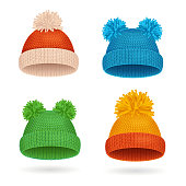 Realistic Knitted Color Hat Winter Set for Warm. Vector illustration