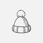 Knitted hat sketch icon for web, mobile and infographics. Hand drawn vector isolated icon.