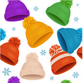 Knitted Hat Winter Background Pattern on a Light. Vector illustration