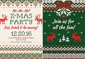 Vector illustration Knitted Invitation to the Christmas X-mas party. Front and back sides. Handmade knitting abstract background pattern with text and scandinavian ornaments. White, red, green colors.