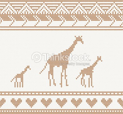 Knitted Pattern With Giraffe Vector Art Thinkstock