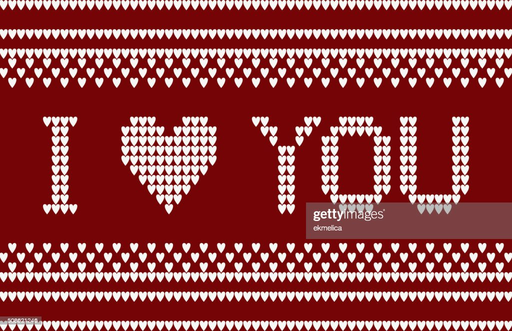 Knitted pattern with I love you inscription. : Vector Art