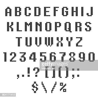 Eine Gestrickte Vektoralphabet Lateinischen Buchstaben Zahlen