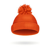 Knitted Woolen Red Hat for Winter Season. Vector illustration