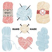Collection of hand drawn balls of yarn for knitting