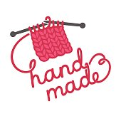 Hand made lettering written with knitting thread. Craft products store logo design. Hand drawn vector illustration.