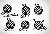 Knitting vector icon on white background