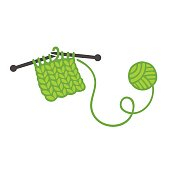 Knitting with needles and ball of yarn. Handmade clothes and DIY craft vector illustration.