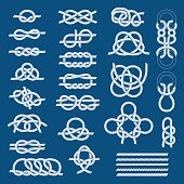 Nautical blue knots sea vector pattern graphic line blue design. Vintage illustrations of white nautical rope knots over blue background. Types of nautical knots sea nautical cord string cable.