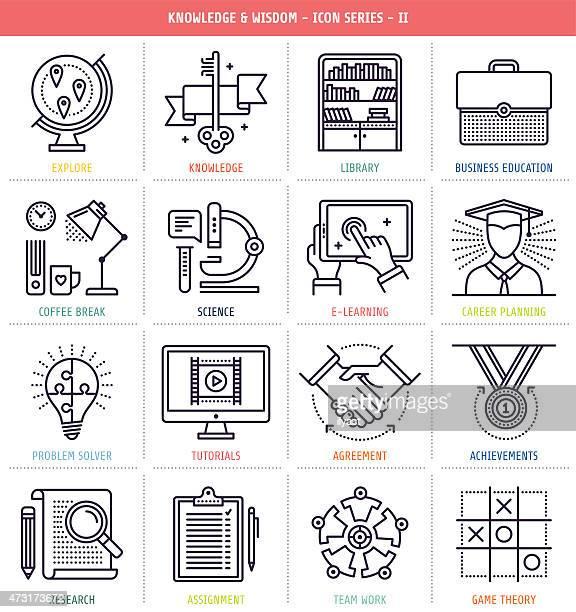 Conjunto de iconos de conocimiento y la sabiduría